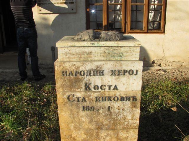 Ukradena bista narodnog heroja Koste Stamenkovića