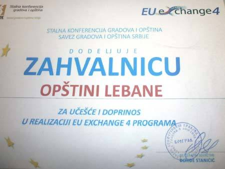 Zahvalnica za realizaciju evropskog projekta