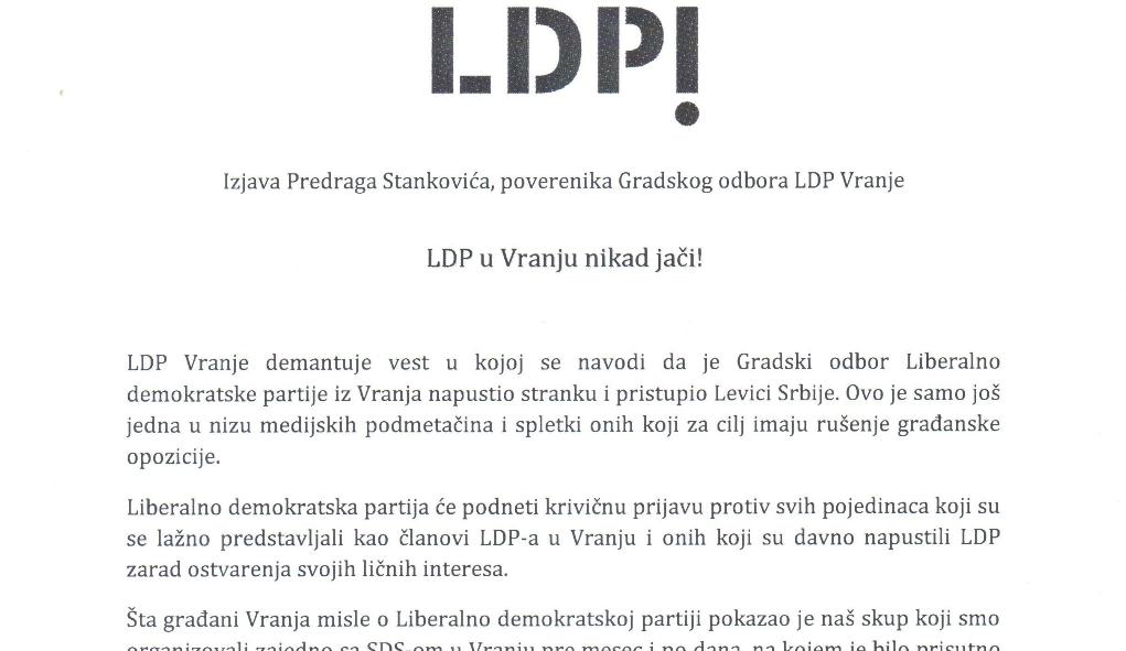 LDP demantuje svoje saopštenje?!