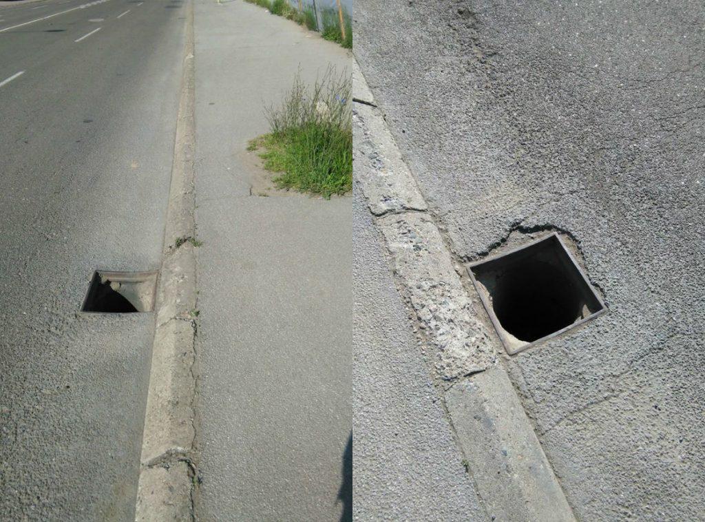 PAŽLJIVO VOZITE! Pokradeni slivnici na ulazu u Leskovac
