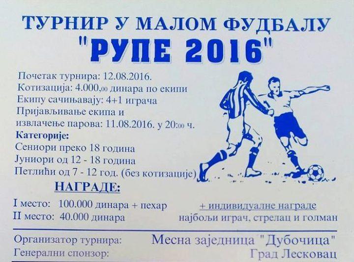 """Turnir """"Rupe 2016"""": Borba za 100.000 dinara"""