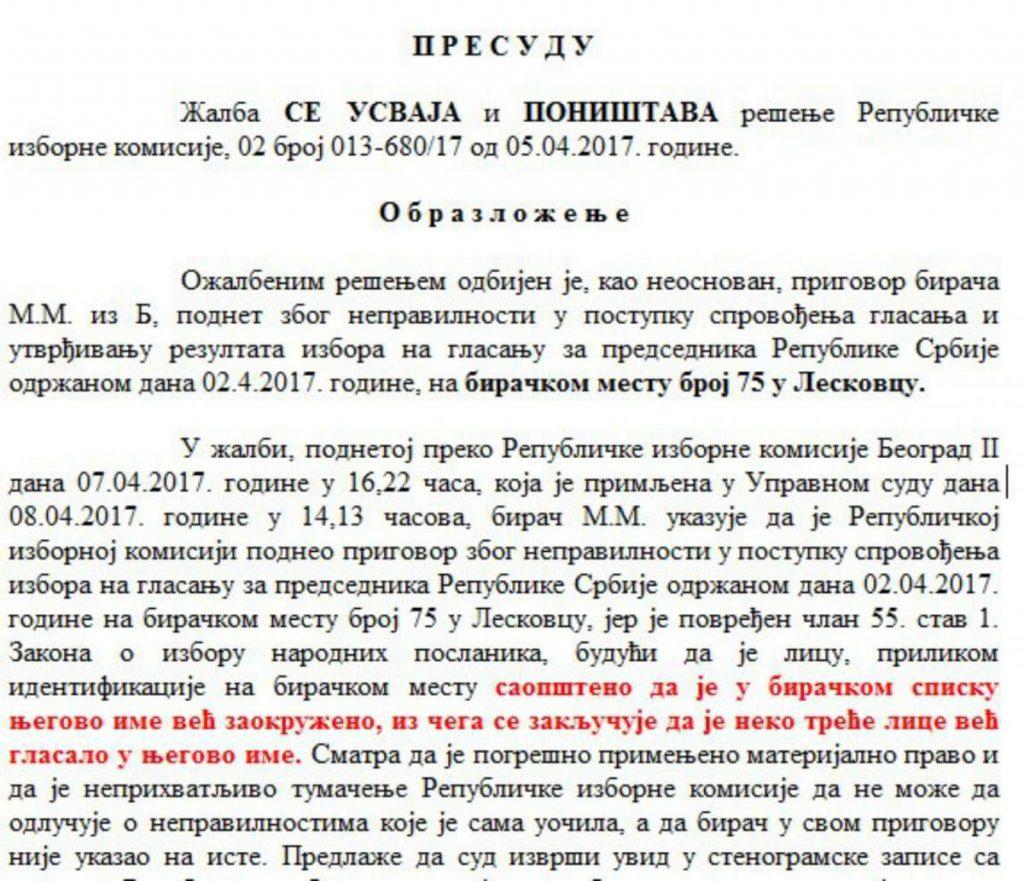 Upravni sud potvrdio: Bilo nepravilnosti na biračkom mestu u Kukulovcu