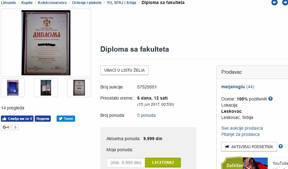 URNEBESNO: Leskovčanin prodaje svoju fakultetsku diplomu preko interneta