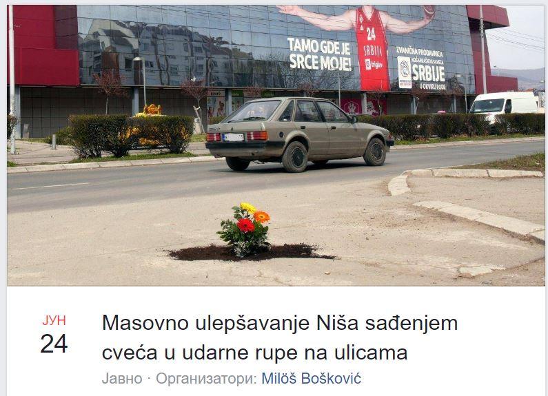 Nišlije sade cveće u udarnim rupama na ulicama