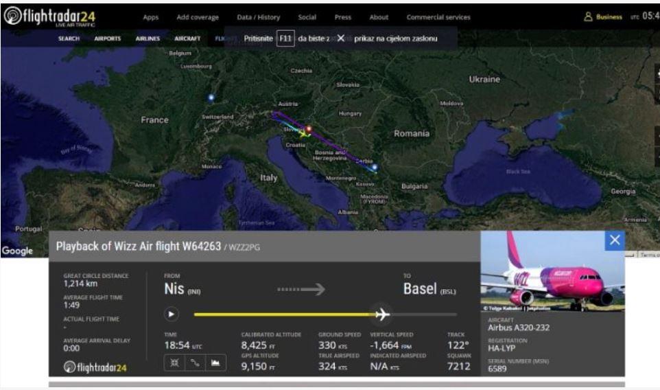 Avion koji je poleteo sa niškog aerodroma prinudno sleteo u Zagreb, povređena dva putnika i član posade