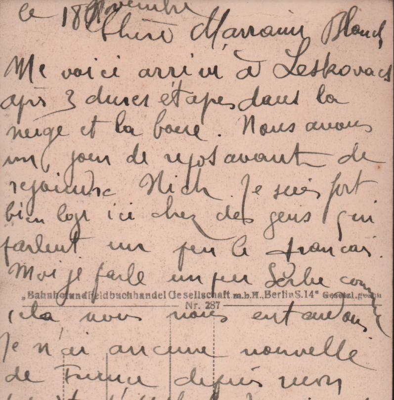 Pismo kumi Blanš iz Leskovca staro 100 godina