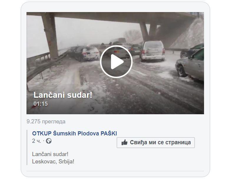 Lažna vest o lančanom sudaru kod Leskovca zapalila društvene mreže