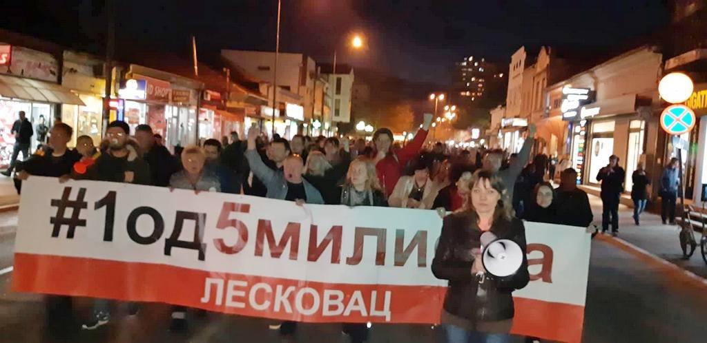 Poruke sa protesta u Leskovcu: Želimo da živimo u nepartijskoj Srbiji