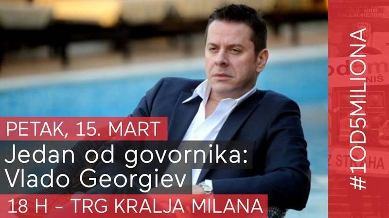 Vlado Georgiev večeras u Nišu, ali ne samo na koncertu već i na protestu