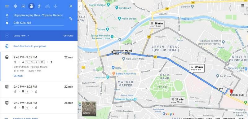 Linije gradskog prevoza u Nišu prve u Srbiji na Gugl tranzit navigaciji