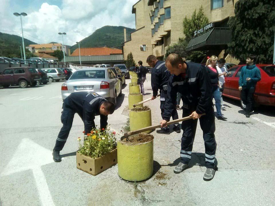 Gimnazijalci i radnici komunalnih službi sadili cveće u centru grada