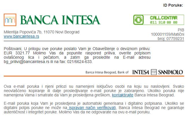 Ako dobijete ovaj mail od banke Intese NIKAKO NE OTVARAJTE u pitanju je virus