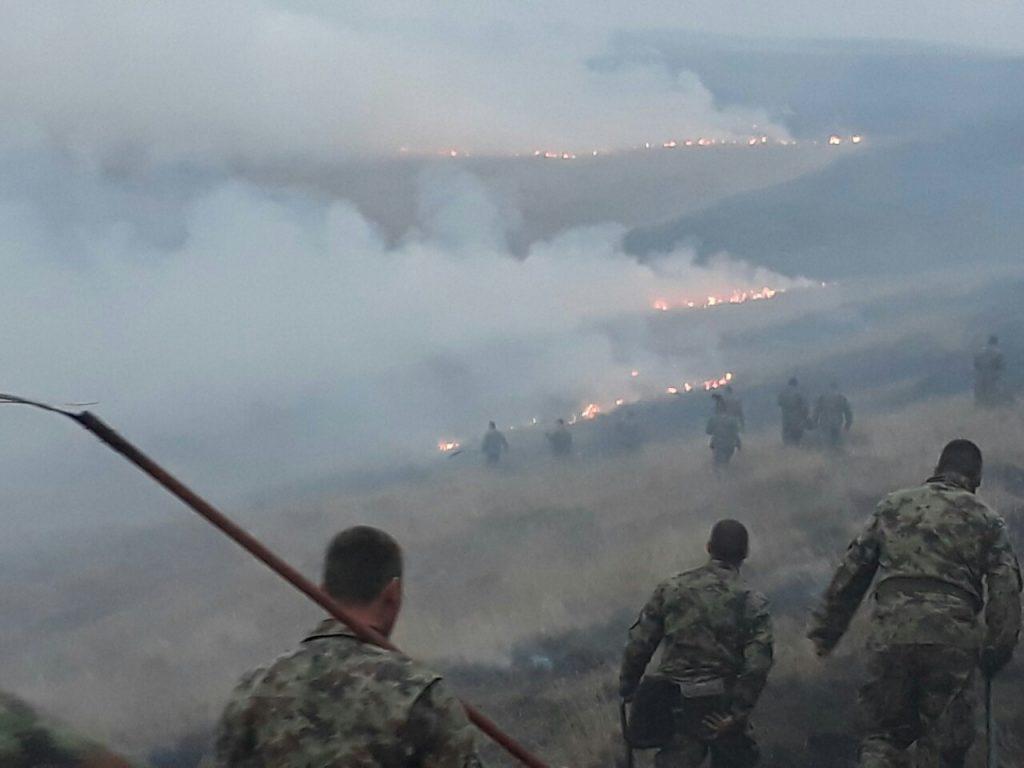 Vojska Srbije pomaže u gašenju požara u Trgovištu