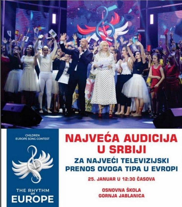 """Audicija za učešće na takmičenju """"Srbijau ritmu Evrope"""" u subotu u Medveđi"""