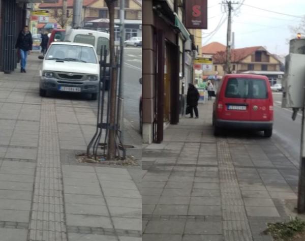 Staza za slepe u centru Leskovca služi kao parking