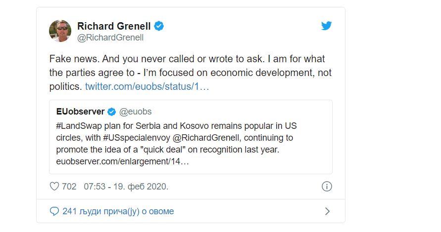 Grenel demantovao da je rekao da su SAD otvorene za razmenu teritorija između Srbije i Kosova