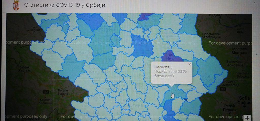 Prema podacima sa zvaničnog sajta covid19.rs u Leskovcu broj zaraženih koronom porastao na tri