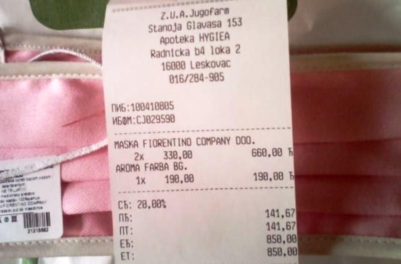 Dugotrajne maske u leksovačkim apotekama prodaju po 330 dinara