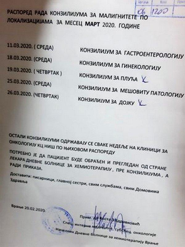 Online konzilijumi u Dnevnoj bolnici za hemioterapiju u Vranju