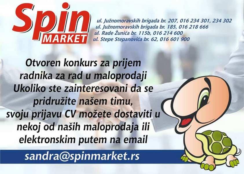 Konkurs: Spin traži radnike za rad u maloprodaji