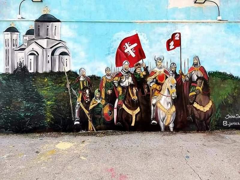 Boj na Kosovu i Lazareva kletva na velikom muralu u Vladičinom Hanu (video)