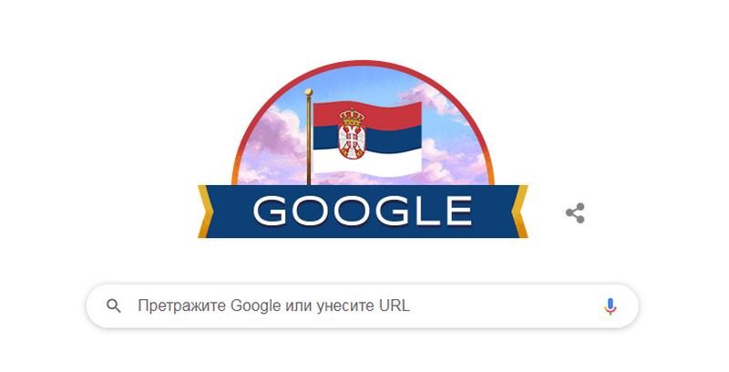 Gugl danas u bojama Srbije odaje počast našoj zemlji