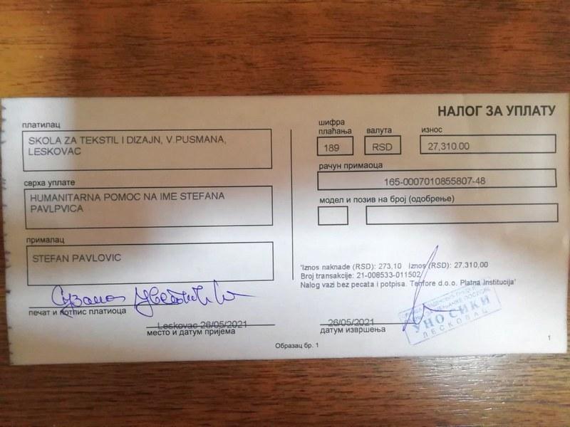 Tekstilna škola iz Leskovca uplatila novac na Stefanov račun