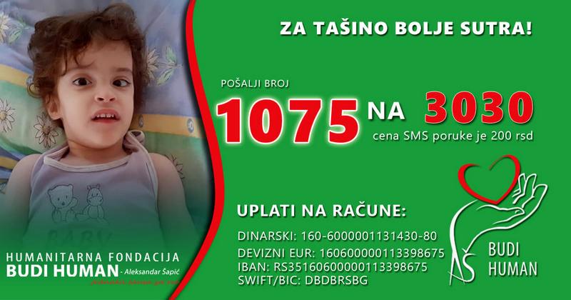 Pomozimo maloj Taši da ode na lečenje u Tursku