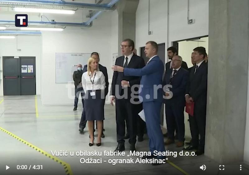 """Vučić: """"Magna Seating"""" samo u Aleksincu zapošljava 800 radnika"""